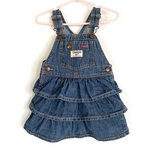 OshKosh ruffle denim jumper overall dress 18M 18 m